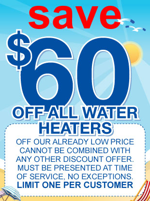 60 dollars off water heater installation