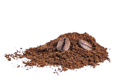 Coffee grounds with beans