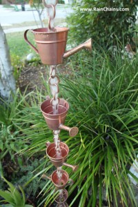 Watering can style rain chain