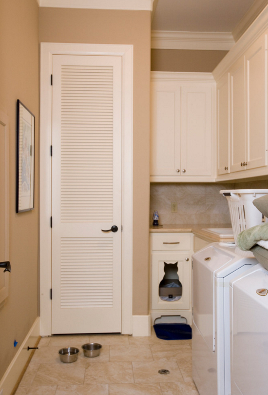 Water heater closet storage in laundry room