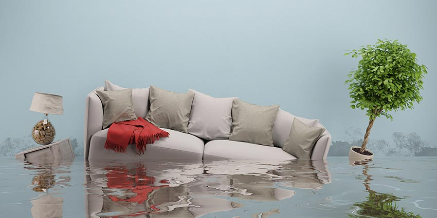 couch in water